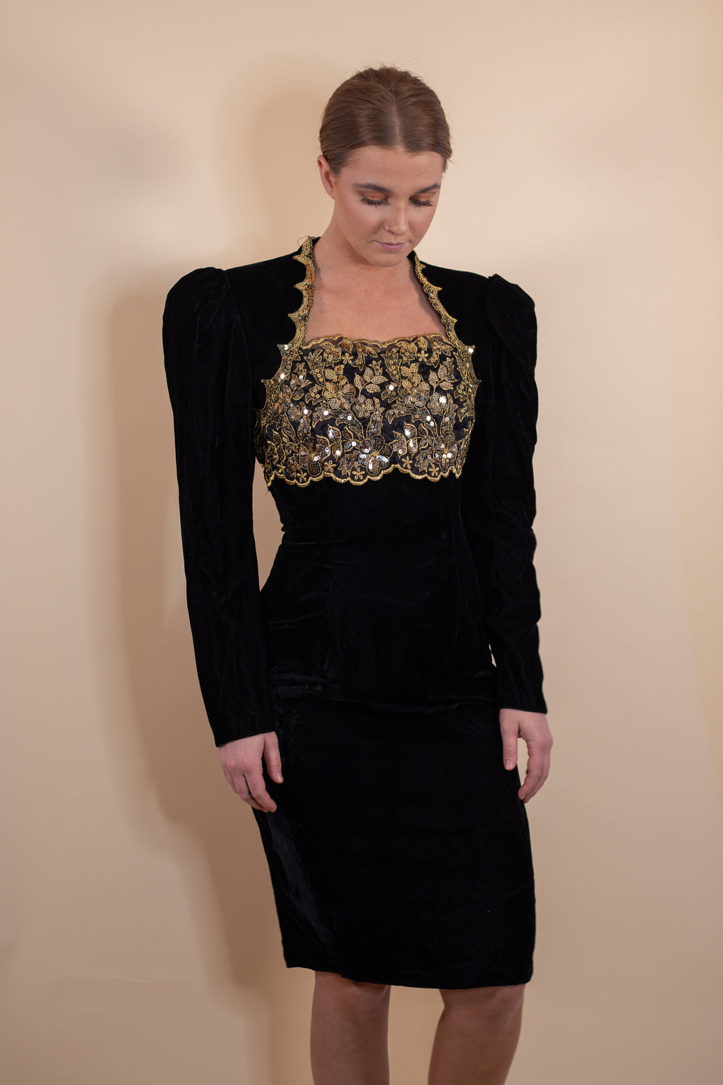 Vintage 80's Scott McClintock Black Velvet Long Sleeve Dress - Gypsie Souls
