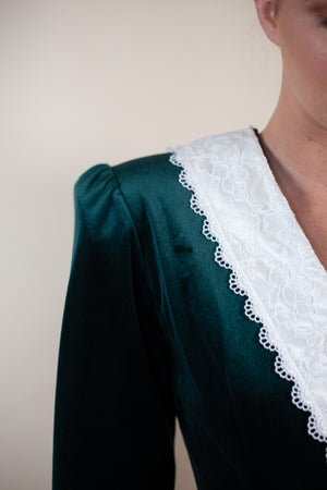 Vintage 90's Velvet & Lace Trim Emerald Dress - Gypsie Souls