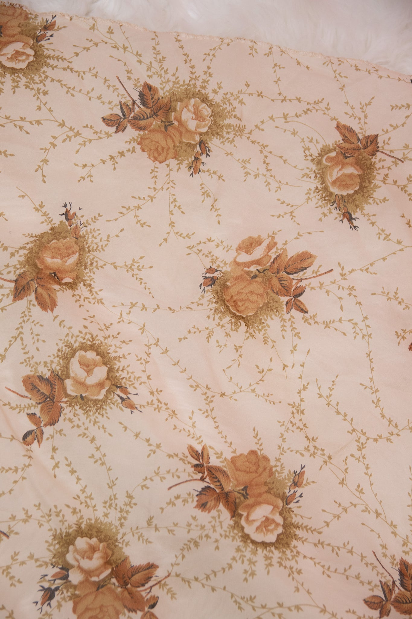Vintage Tan & Brown Floral Pattern Scarf - Gypsie Souls