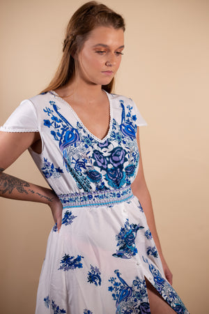 White and Blue Flare Dress - Gypsie Souls