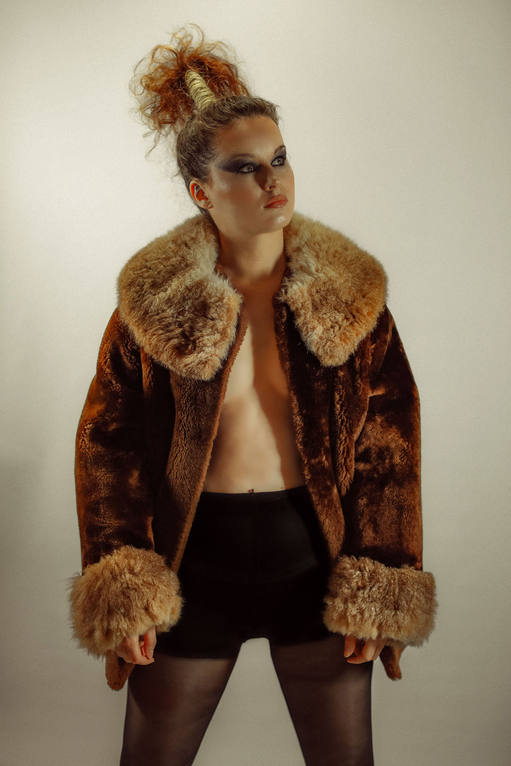 Vintage 60's Brown Faux Fur Coat - Gypsie Souls