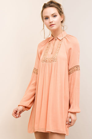 LONG SLEEVE COLLARED DRESS - Gypsie Souls