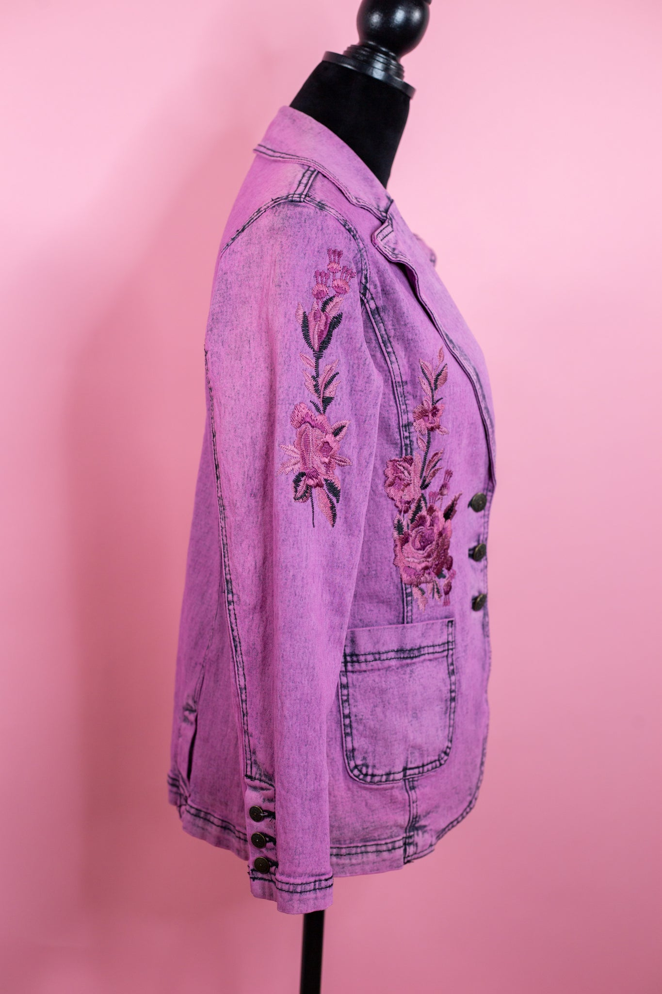 Vintage Pink Denim Floral Embroidered Jacket - Gypsie Souls