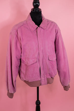 Vintage Pink Leather Suede Bomber Jacket - Gypsie Souls