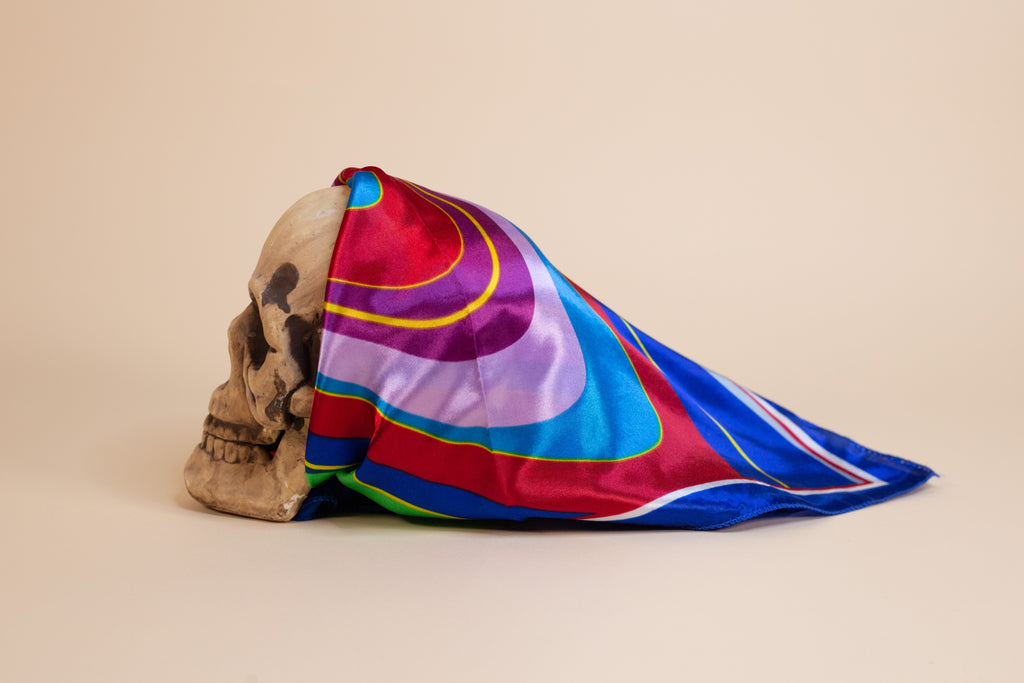 Blue Multi Color Silk Scarf - Gypsie Souls