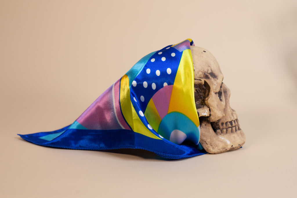 Blue Multi Pattern Silk Scarf - Gypsie Souls