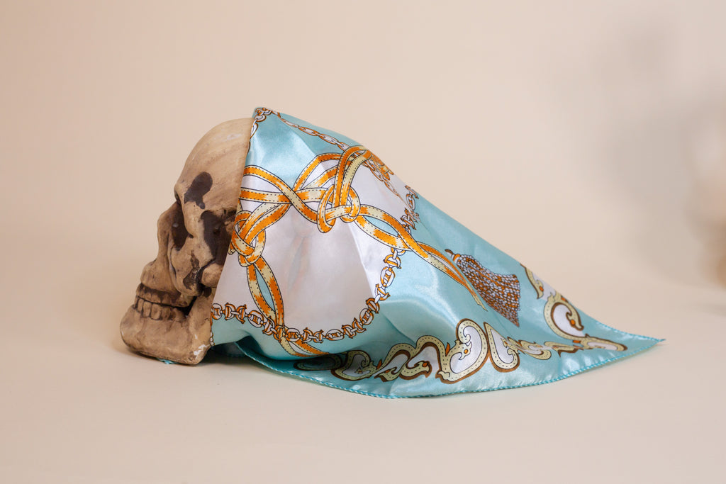 Tiffany Blue Pattern Silk Scarf - Gypsie Souls