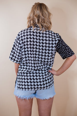 Vintage 80's Black & White Mixed Pattern Top - Gypsie Souls