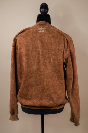 Vintage Brown Wash Feather Detail Sweatshirt - Gypsie Souls