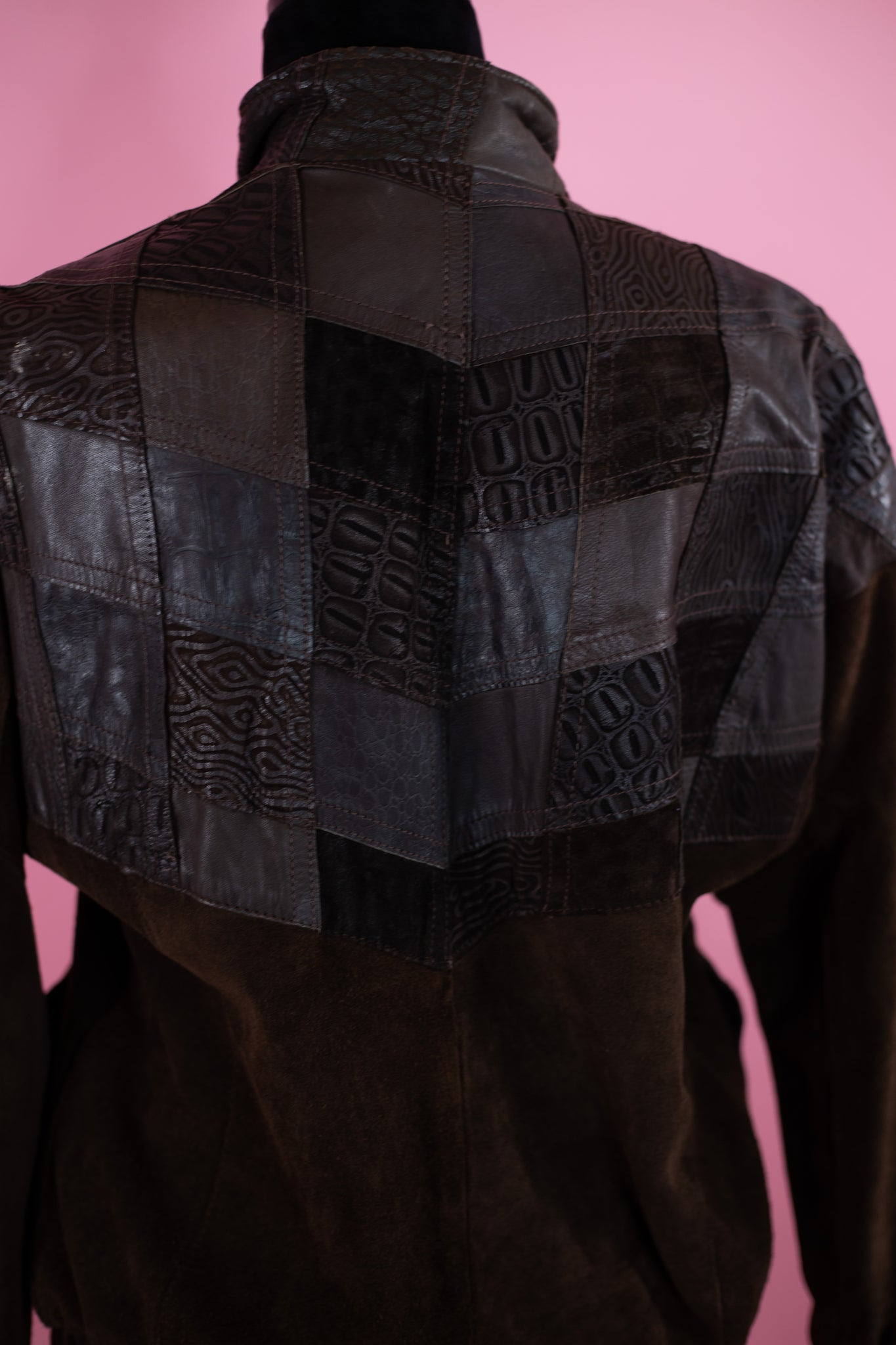 Vintage Comint Patched  Detail Leather Jacket - Gypsie Souls
