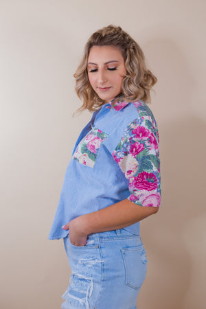 Vintage Denim Floral Top - Gypsie Souls