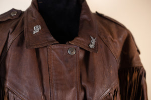 Vintage Brown Leather Fringe Motorcycle Jacket - Gypsie Souls