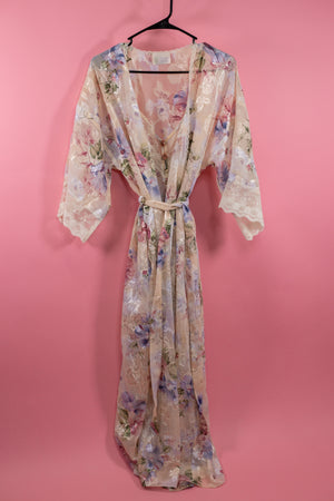 Vintage California Dynasty Floral Night Gown w/ Robe - Gypsie Souls