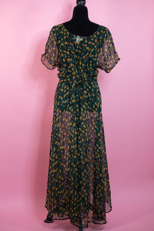 Vintage Green & Yellow Floral Sheer Button Up Kimono - Gypsie Souls