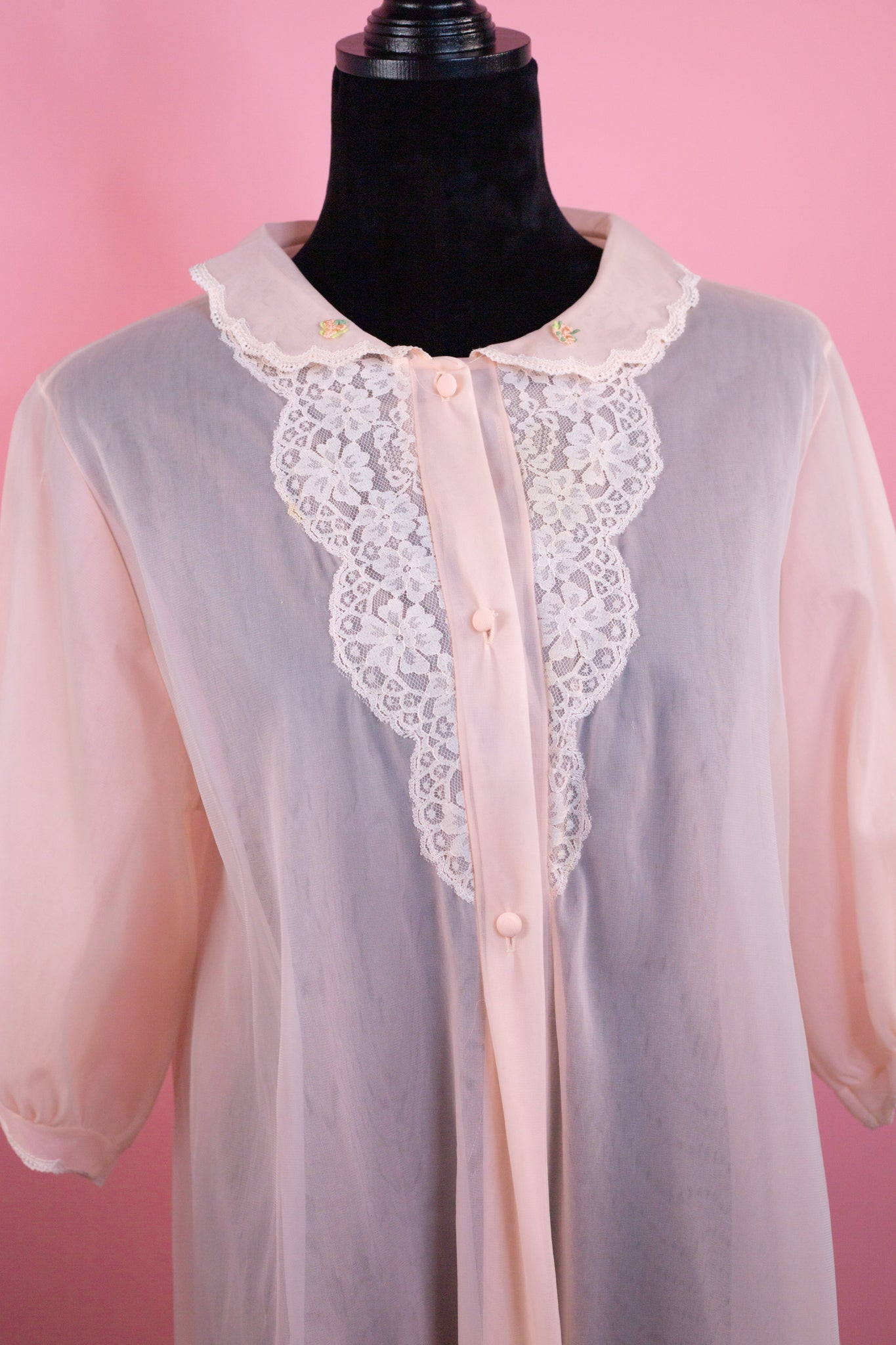 Vintage Lorraine Light Pink Sheer Lace Nightgown - Gypsie Souls