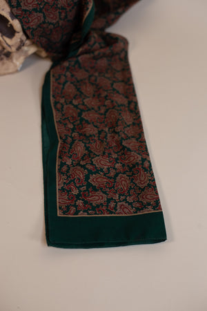 Vintage Dark Green & Red Floral Scarf - Gypsie Souls