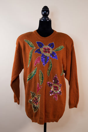 Vintage Victoria Harbour Beaded Sequin Mustard Sweater - Gypsie Souls