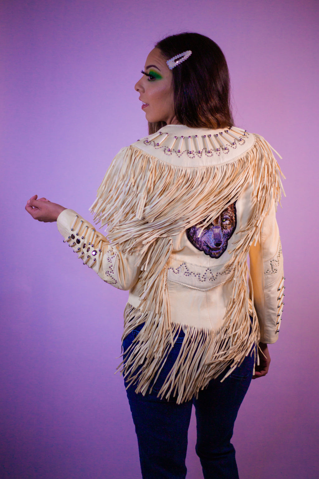 Vintage One of a Kind White Beaded Leather Fringe Tassel Embroidered Jacket - Gypsie Souls