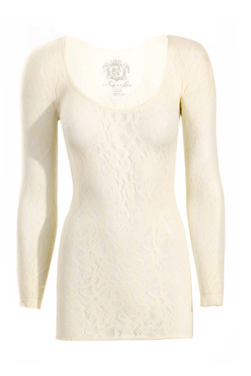 LONG SLEEVE LACE WHITE TOP - Gypsie Souls