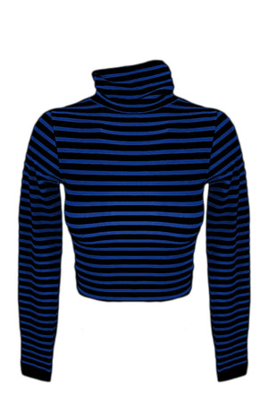 STRIPED LONG SLEEVE TURTLE NECK CROP TOP - Gypsie Souls