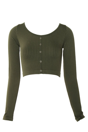 RIBBED KNIT LONG SLEEVE TOP - Gypsie Souls