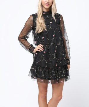 Black Embroidered Floral Sheer Sleeve Shift Dress - Gypsie Souls