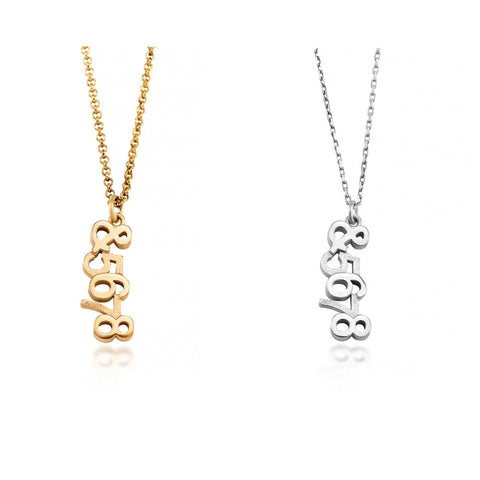 Count In necklace 5678 in white gold and yellow gold designed by Rhythm Jewellery