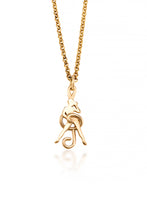 Attitude Dancer Necklace (10 Karat yellow gold)- an elegant treble clef frames the silhoutte of a dancer in this necklace. A perfect gift for the dancer who loves to show a little attitude on stage.