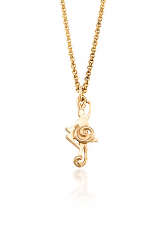 Balance Dancer Pendant ( 10 Karat yellow gold)- A ballerina is inset among the smooth curves of a treble clef in this unique piece of dancer jewelry.