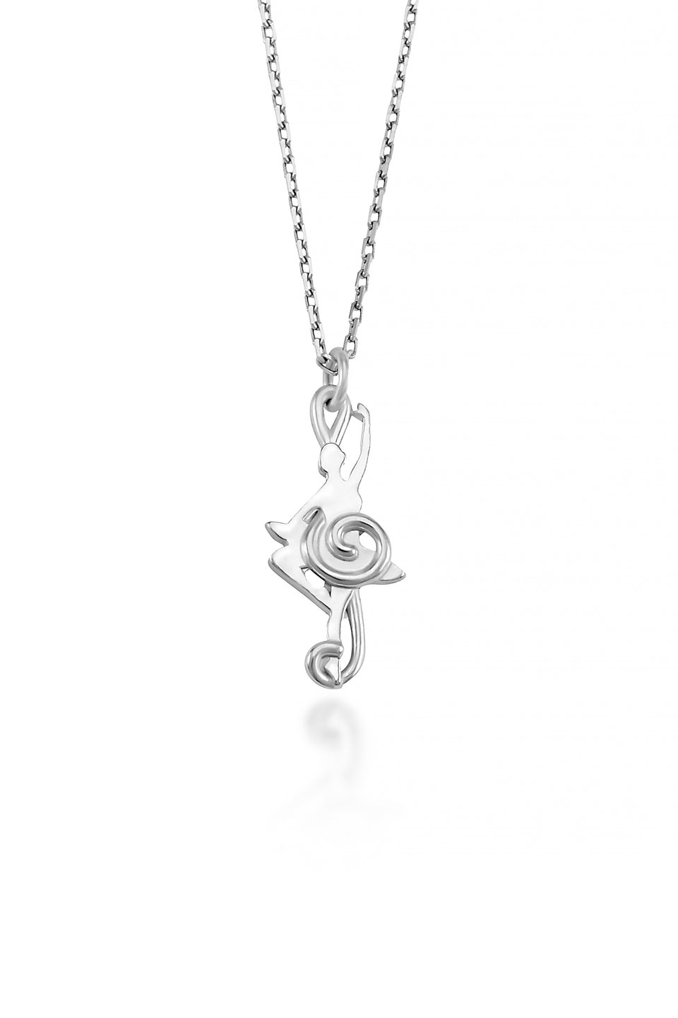 Balance Dancer Pendant ( 10 Karat white gold)- A ballerina is inset among the smooth curves of a treble clef in this unique piece of dancer jewelry.