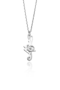 Balance Dancer Pendant ( Sterling Silver)- A ballerina is inset among the smooth curves of a treble clef in this unique piece of dancer jewelry.