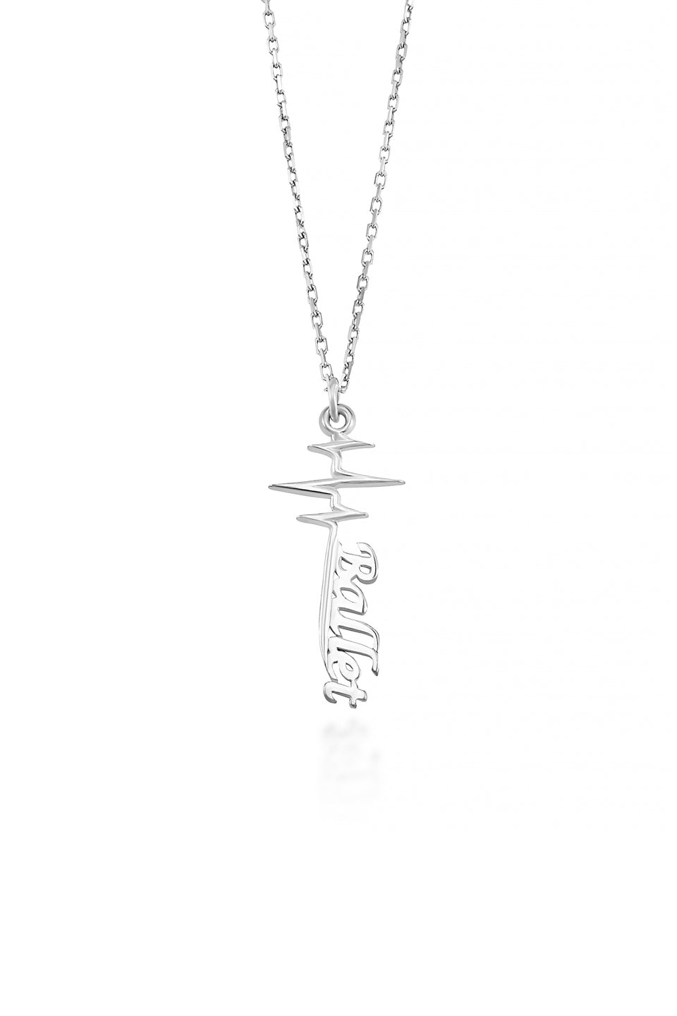 Ballet Pulse Necklace (Sterling silver)- A sterling silver heart beat hangs with the word Ballet written in a beautiful font at the bottom