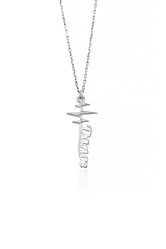 Dance Pulse Necklace in sterling silver features an elegant heart beat with the word Dance written at the bottom in beautiful font.