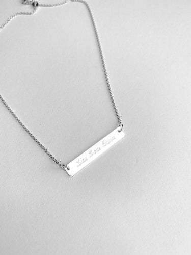 Live, Love, Dance Sterling Silver Bar Necklace