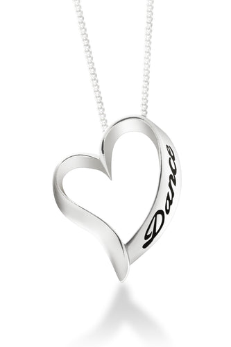 Forever Dance Heart Shaped Dancer necklace in sterling silver. An open heart with the word Dance embossed up the side hangs on a delicate sterling silver chain.