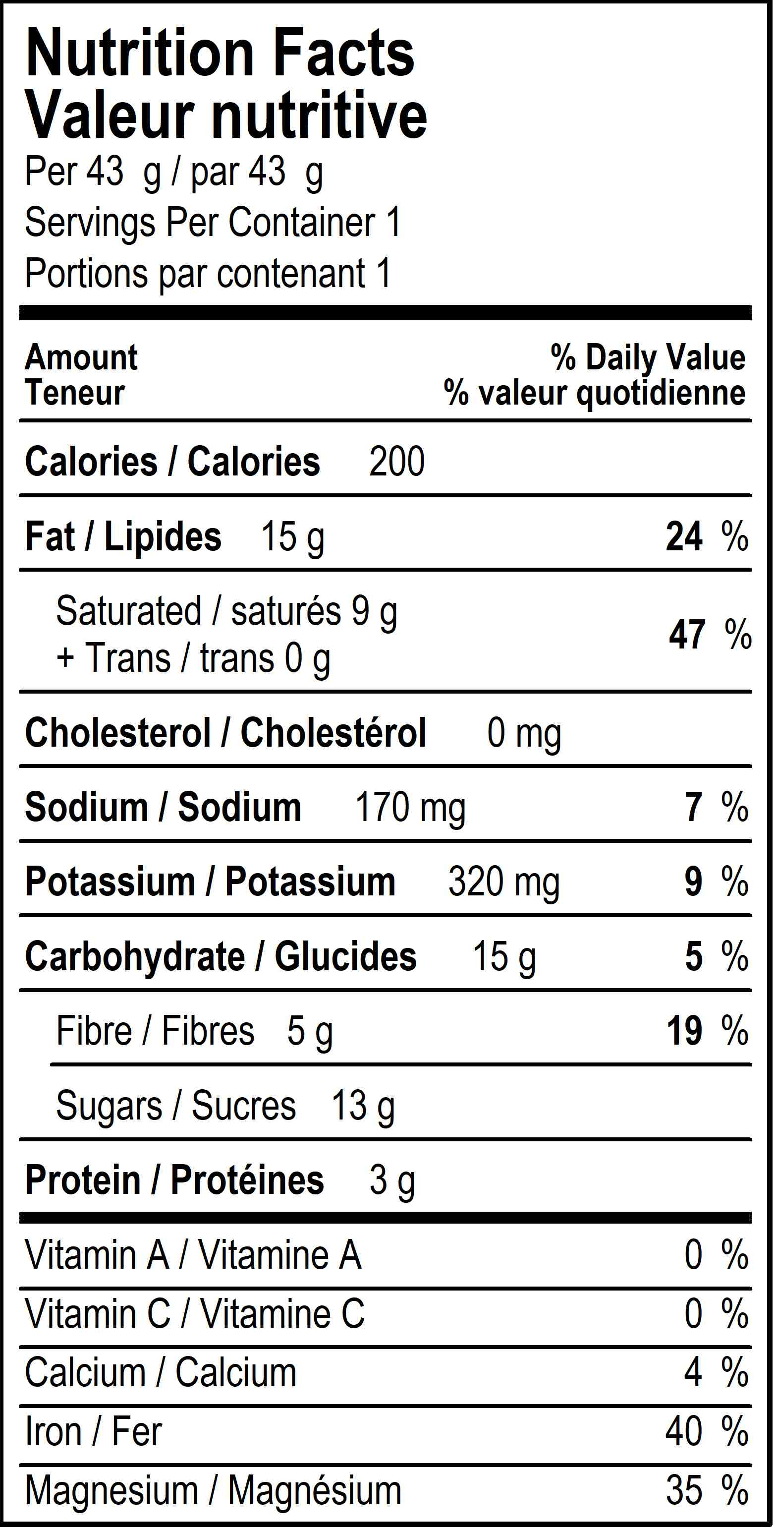 organicfair canadiana dark chocolate bar nutritional label