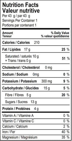 organicfair purist chocolate bar nutritional label
