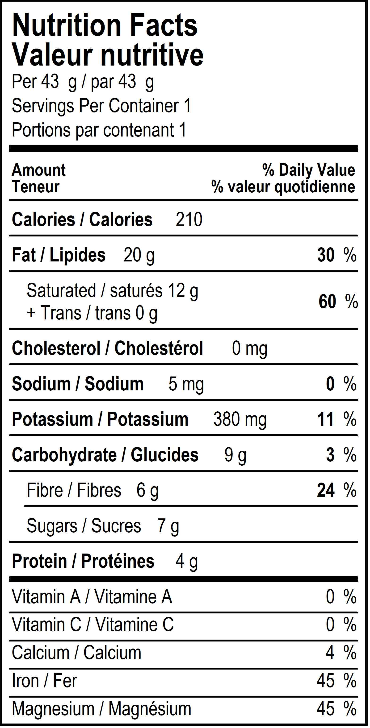 organicfair forte chocolate bar nutritional label