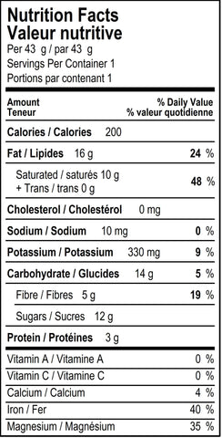 organicfair little italy chocolate bar nutritional label
