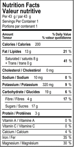 organicfair little monkey chocolate bar nutritional label