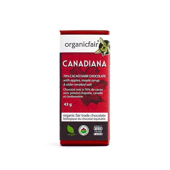 organicfair canadiana dark chocolate bar