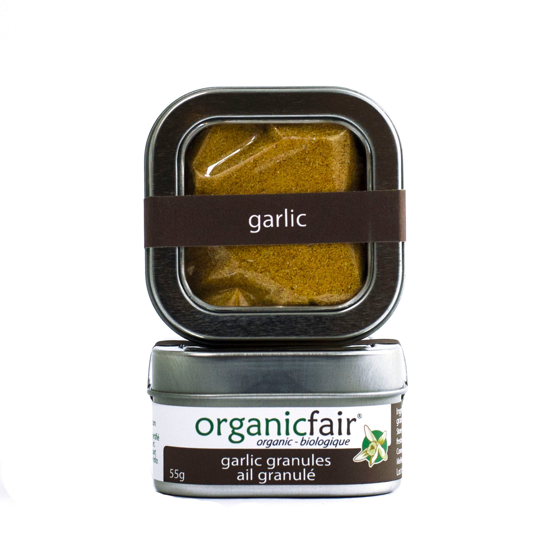 organicfair granulated garlic tin