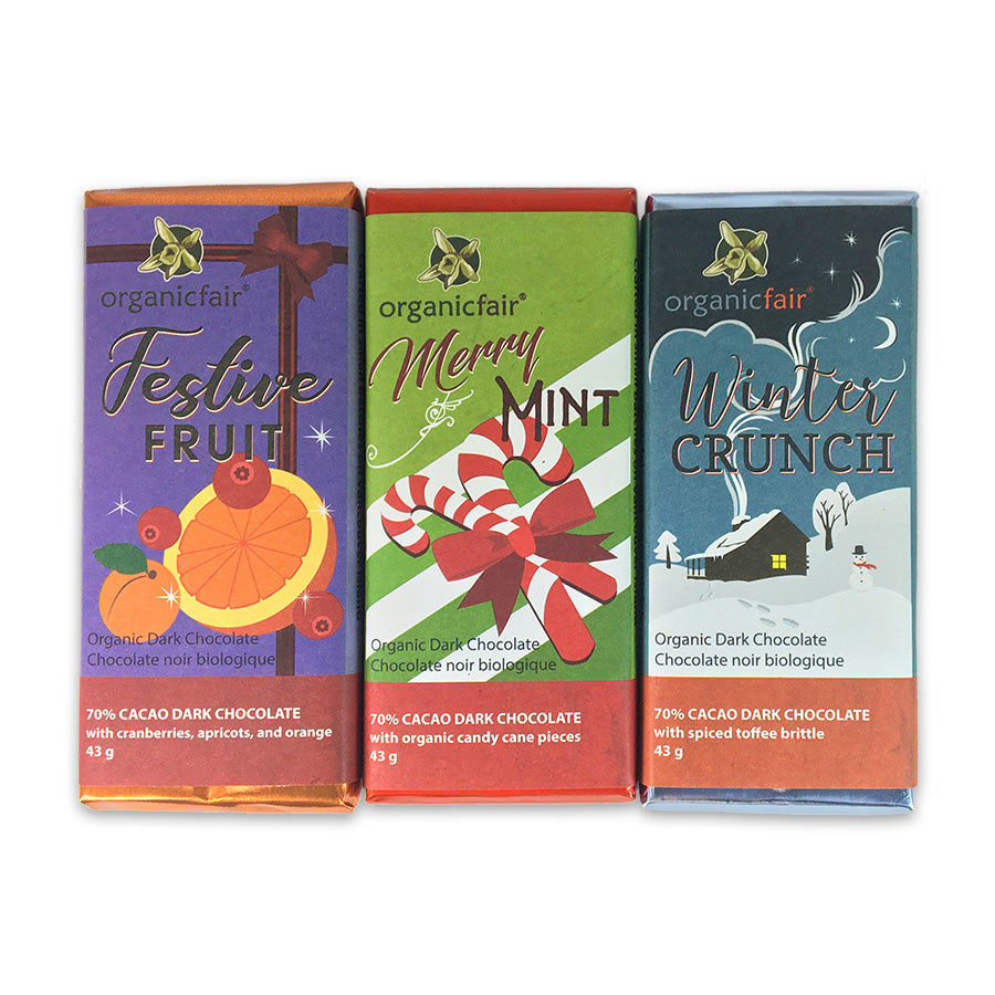 organicfair holiday chocolate bar trio