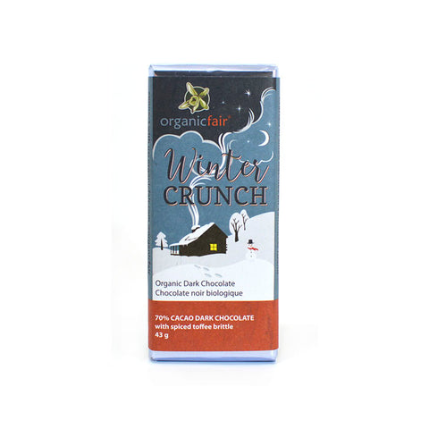 organicfair winter crunch chocolate bar