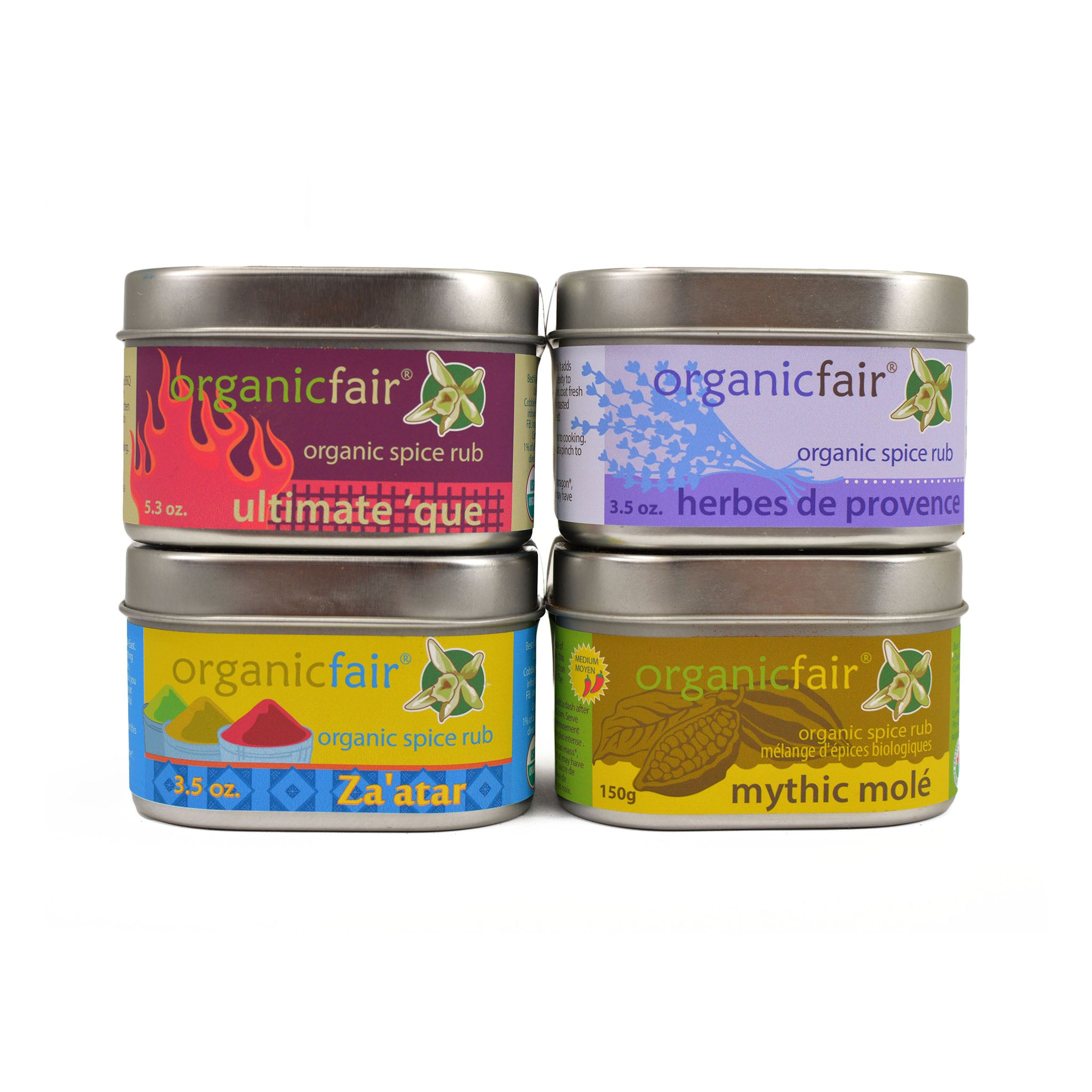 organicfair spice rub sampler set fronts