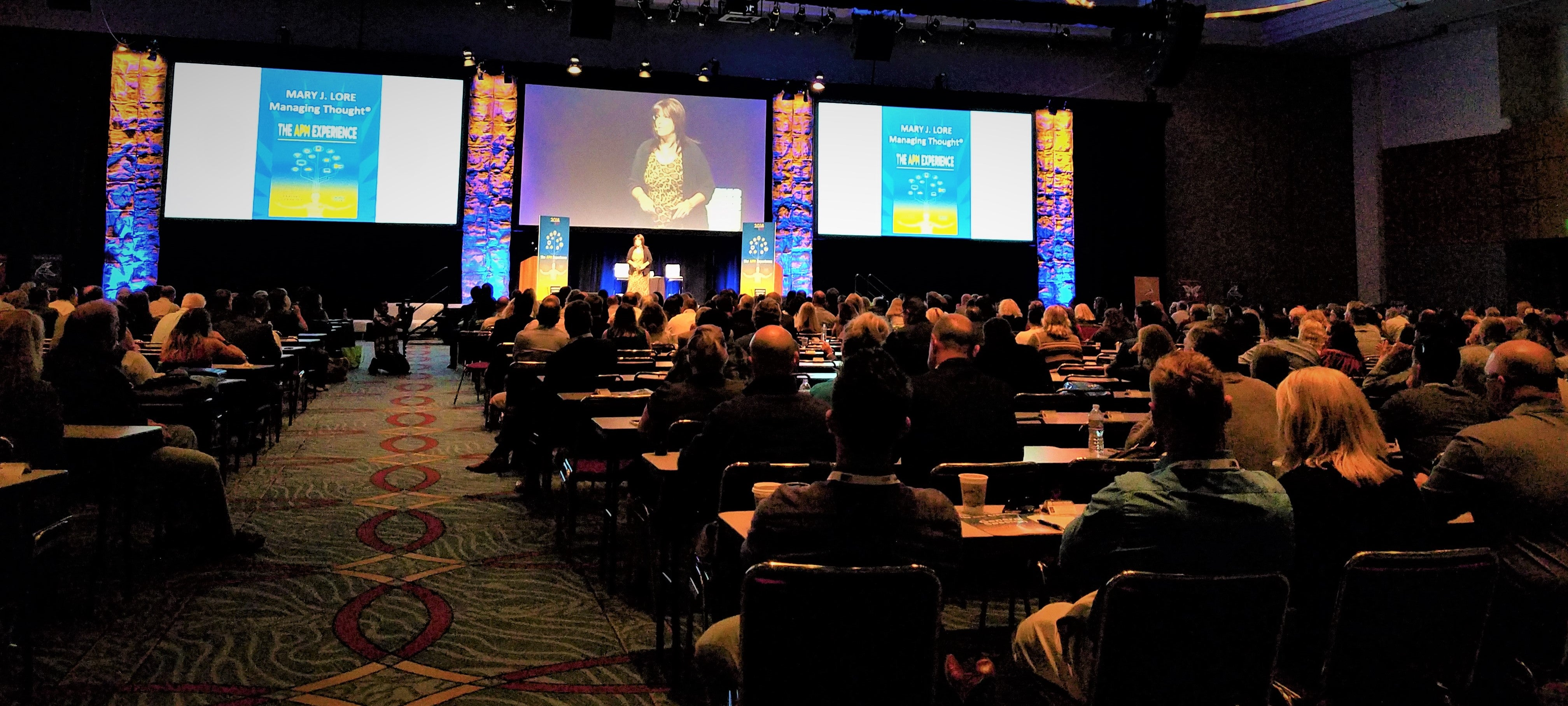 Mary Lore Sharing Managing Thought at American Pacific Mortgage Conference in San Diego