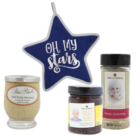 Oh My Stars Bundle includes 5.7oz. House Seasoning, 8.5oz. Dill Pickled Mustard, 11oz. Sweet & Smokey Onion Burger Starter & Oh My Stars Pot Holder
