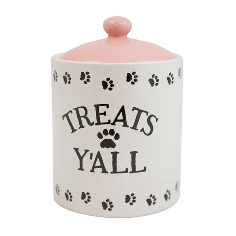 Treats Y'all Pet Snack Jar Pink