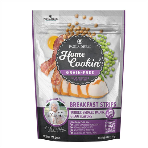 Paula Deen Home Cookin' Dog Food - Grain Free Breakfast Strips <br/>Turkey,smoked Bacon & Egg Flavors