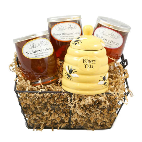 Honey Bee Bundle: includes Wildflower Honey, Wildberry Honey, Orange Blossom Honey, Honey Y'all Pot with wooden dipper and Wire Basket & Shred